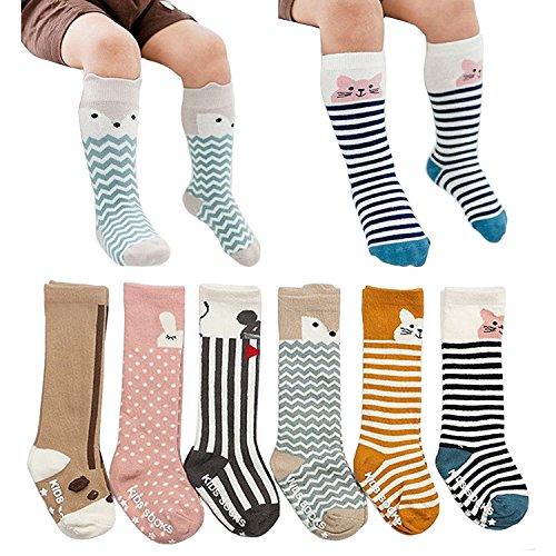 Fansco 6 Pairs Toddler Socks, Non Skid Knee High Cotton Socks for Baby Boys...
