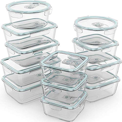 Razab 24 Pc Glass Food Storage Containers Airtight Lids...