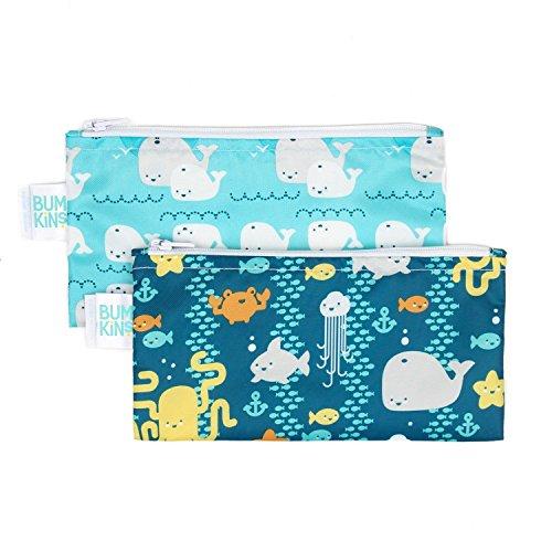 Bumkins Snack Bags, Reusable Fabric, Washable, Food Safe, BPA Free - Sea...