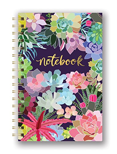 """Medium Hardcover Spiral Notebook by Studio Oh! - Succulent Paradise - 5.75""""..."""
