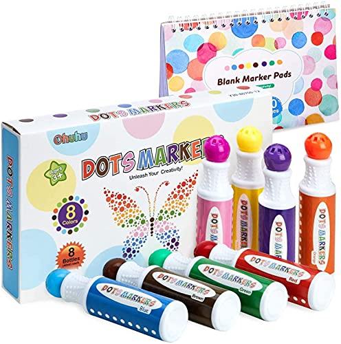 Washable Dot Markers Kit, Ohuhu 8 Colors Paint Marker (40 ml, 1.41 oz.)...