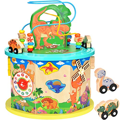 Amagoing Large Dinosaur Activity Cube, Baby Educational Toys Wooden...