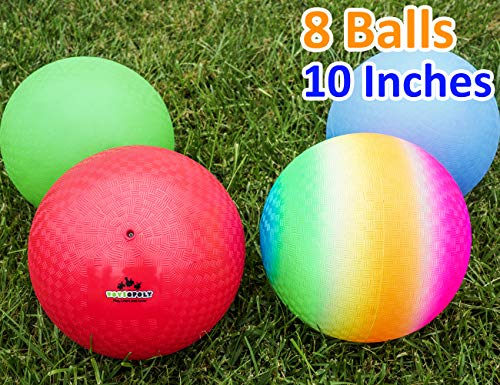 Playground Balls 10 inch Dodgeball (Set of 4) Kickball for Boys Girls Kids...