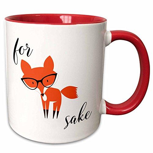 3dRose For Fox Sake Mug, 11 oz, Red