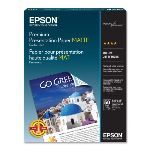 Epson Premium Presentation Paper MATTE (8.5x11 Inches, Double-sided, 50...