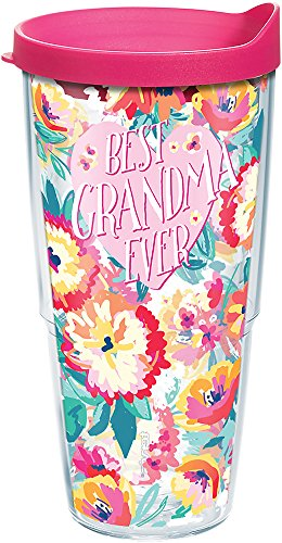 Tervis Best Grandma Ever Floral Tumbler with Wrap and Fuchsia Lid 24oz,...