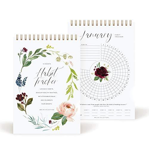Bliss Collections Habit Tracker Calendar Notepad, Gold Spiral Bound...