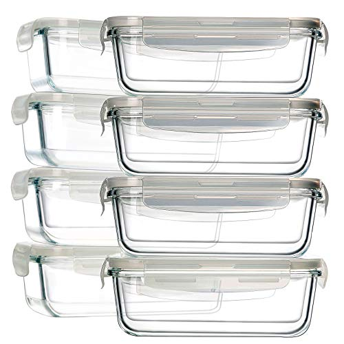8 Pack Glass Food Storage Containers, BAYCO Glass Meal Prep Containers,...