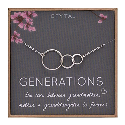 EFYTAL Generations Necklace for Grandma Gifts - Sterling Silver Mom...