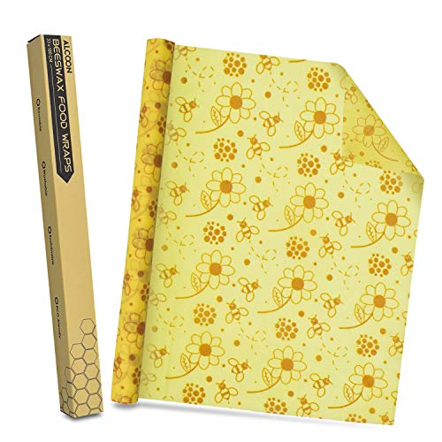 Alcoon Beeswax Food Wraps 1 Meter Roll 13 x 39 Inch Reusable Beeswax Wraps...