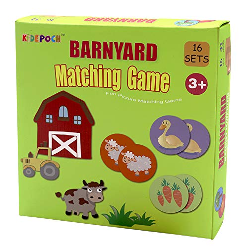 Memory Match Game – 16 Matching Pairs Preschool Memory Games Featuring...