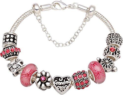 Grandma Grows A Garden of Love Pink Flower Silver-Tone Bead Charm Bracelet