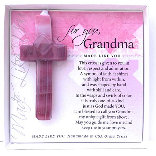 Gift for Grandma: Handmade in The USA Glass Cross and Grandma Poem