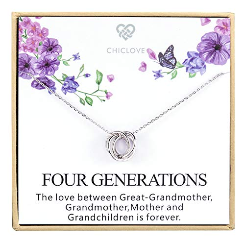 Four Generations Necklace for Great Grandmother - Sterling Silver Four...