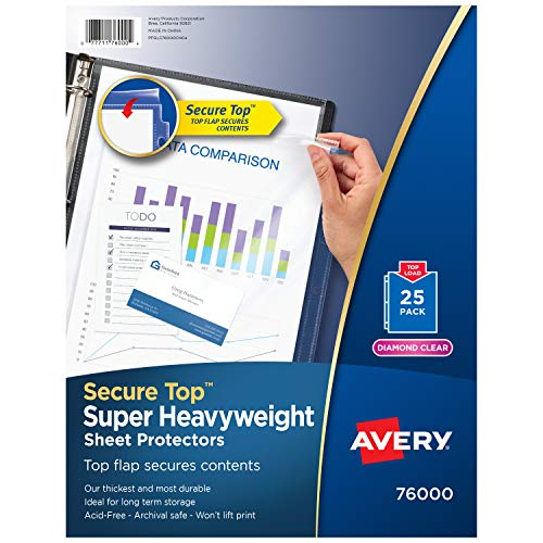 Avery 76000 Secure Top Sheet Protectors, Super Heavy Gauge, Letter, Diamond...