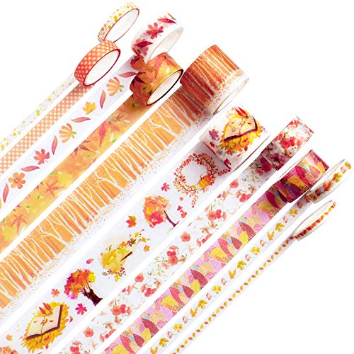 10Rolls Maple Leaf Washi Tape, Fall Masking Tape Set Decorative for...