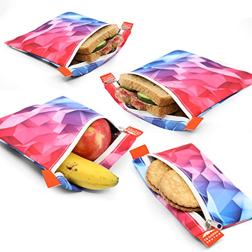 Nordic By Nature 4 Pack - Reusable Sandwich Bags Dishwasher Safe BPA Free -...