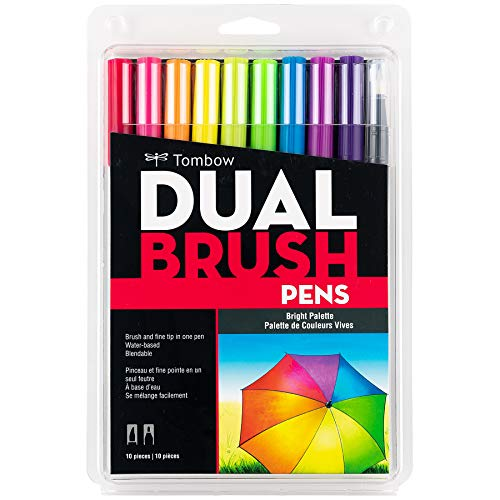Tombow 56185 Dual Brush Pen Art Markers, Bright, 10-Pack. Blendable, Brush...