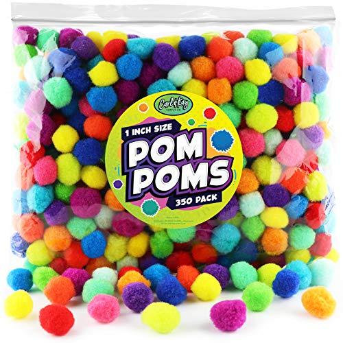 Carl & Kay [350 Pcs] 1 Inch Pom Poms, Bulk Craft Pompoms in Bright & Bold...