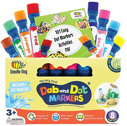 Washable 8 Colors Dab and Dot Markers Pack Set. Fun Art Supplies for Kids,...