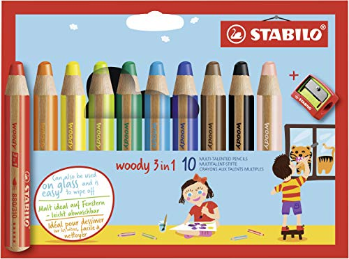 STABILO Woody 3 in 1 Pencil, 10-Color Set, Multicolor