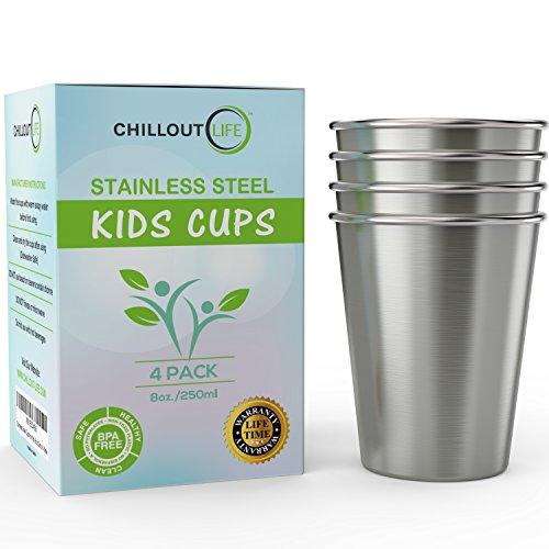 Stainless Steel Cups for Kids and Toddlers 8 oz - Small Metal Cups for Home...