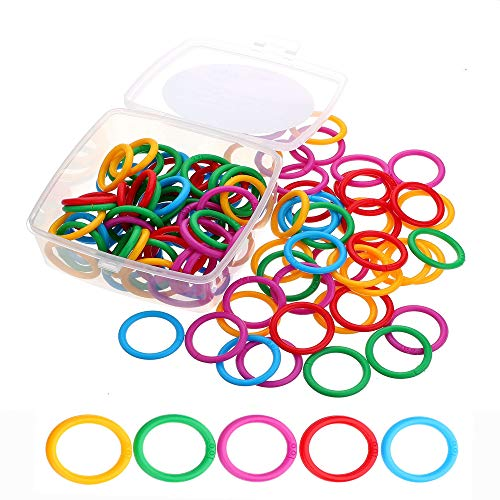 ninahouse Box Packed Plastic Loose- Leaf Rings Multi-Color Binder Rings...