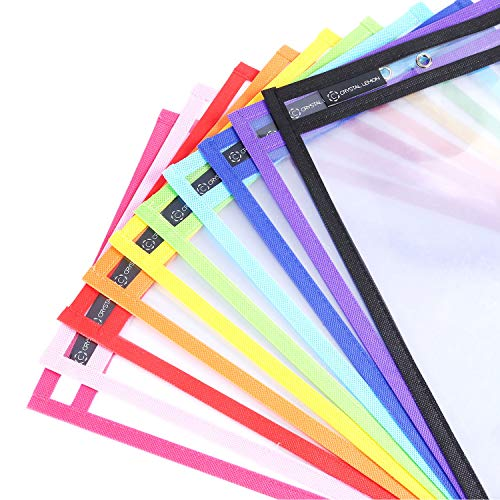 "Pack of 10, Multicolored Dry Erase Pockets, 10"" x 14"", School Supplies..."