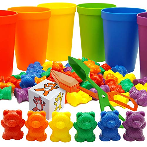 Skoolzy Rainbow Counting Bears with Matching Sorting Cups, Bear Counters...