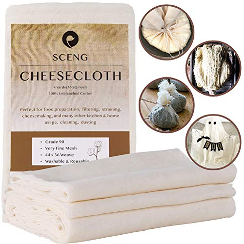 Cheesecloth, Grade 90, 36 Sq Feet, Reusable, 100% Unbleached Cotton Fabric,...