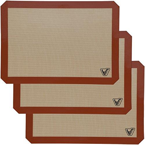 Silicone Baking Mat - Set of 3 Half Sheet (Thick & Large 11 5/8' x 16 1/2')...