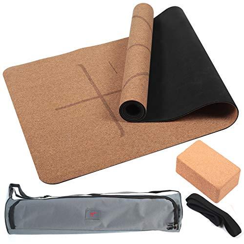 4PCS Eco-friendly Cork Yoga Mat Set Non-slip Organic Cork & Natural Rubber...