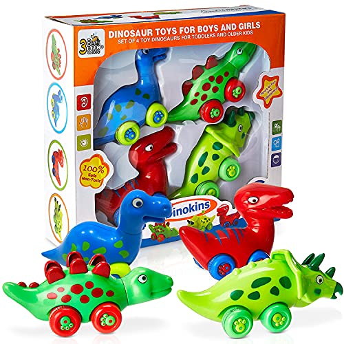 3 Bees & Me Dinosaur Car Toys for Toddlers | Dinosaurs with Wheels 4-in-1...