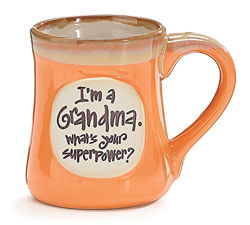 """I'm a Grandma, What's Your Superpower"" 18 oz Porcelain Coffee Cup Mug"