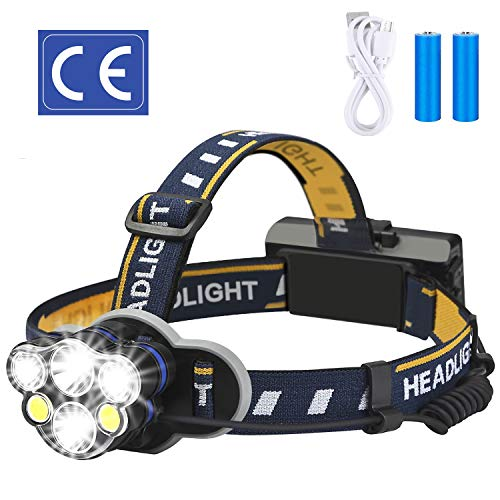 Elmchee Rechargeable headlamp, 6 LED 8 Modes 18650 USB Rechargeable...