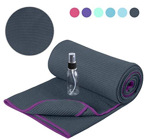 Heathyoga Non Slip Yoga Towel, Exclusive Corner Pockets Design, Microfiber...