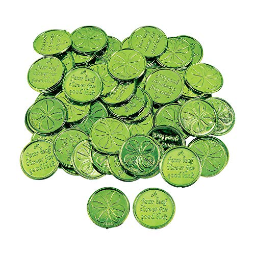Fun Express Plastic 4-Leaf Clover Good Luck Coins for St. Patrick's Day...