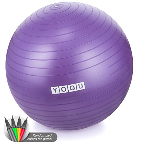 YOGU Stability Exercise Ball 65cm Yoga Balance Ball Birthing Ball with Air...