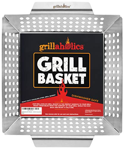 Grillaholics Heavy Duty Grill Basket - Large Grilling Basket for More...