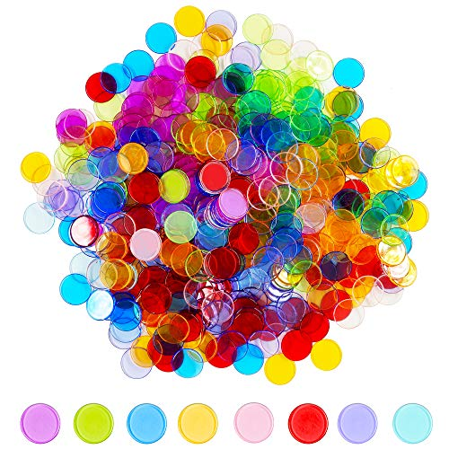 Hebayy 500 Transparent 8 Color Clear Bingo Counting Chip Plastic Markers...