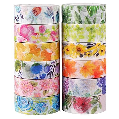 Knaid Floral Washi Masking Tape Set + Tape Dispenser, Spring Flower...