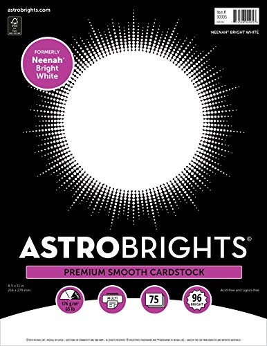 Astrobrights/Neenah Bright White Cardstock, 8.5' x 11', 65 lb/176 gsm,...