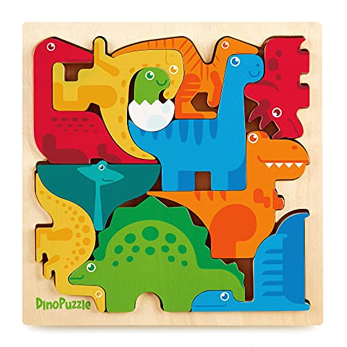 """Dinosaur Puzzle 3D Wood Jigsaw for Toddlers & Kids Age 3 +, 9""""x 9"""" x..."""