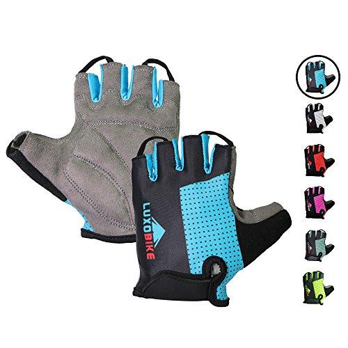 LuxoBike Cycling Gloves (Blue - Half Finger, Medium)