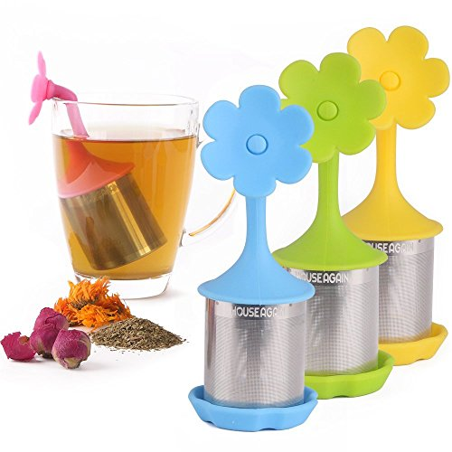 House Again 4-pack Extra Fine Mesh Tea Infuser with Drip Tray - 18/8...
