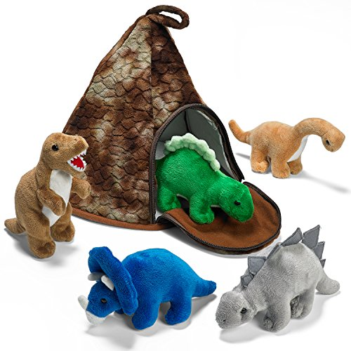 Prextex Dinosaur Volcano House with 5 Plush Dinosaurs Great for Kids Plush...