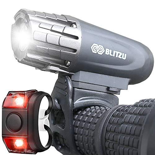 BLITZU Gator 320 USB Rechargeable Bike Light Set Super Bright Front...