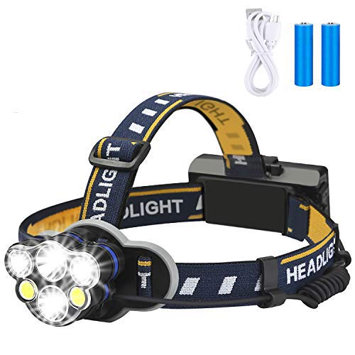 Rechargeable headlamp,Elmchee 6 LED 8 Modes 18650 USB Rechargeable...
