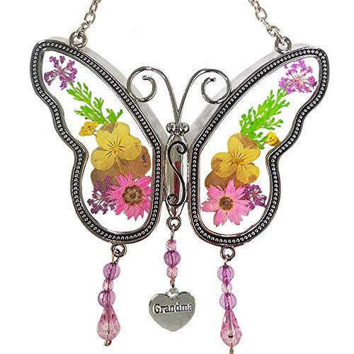 KOLIN Grandma Butterfly Suncatcher Wind Chime with Pressed Flower Wings...