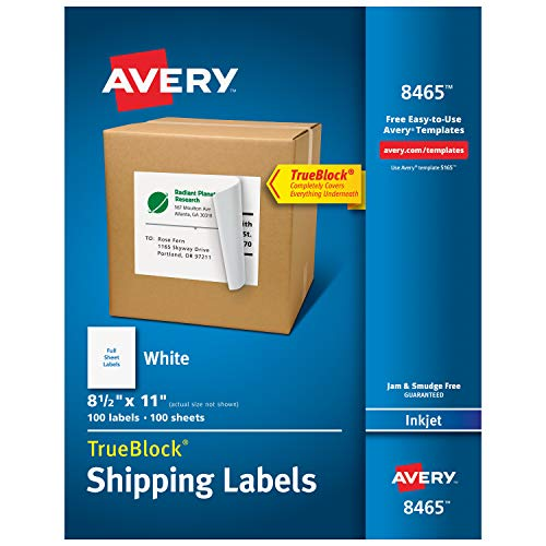 Avery Shipping Address Labels, Inkjet Printers, 100 Labels, Full Sheet...